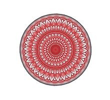Mandala in Red (on white) Photographic Print