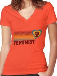 Retro Feminist  Women's Fitted V-Neck T-Shirt