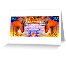 Chinese Zodiac, fire horse, 1966, 2026, born, Greeting Card
