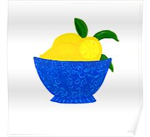 Blue Bowl of Lemons Poster