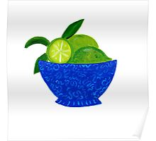 Blue Bowl of Limes Poster