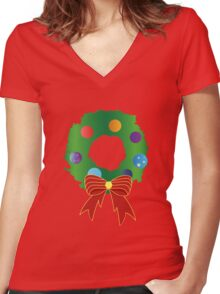 Christmas Wreath Women's Fitted V-Neck T-Shirt