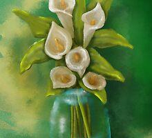 Jar of Calla Lilies by Cherie Balowski