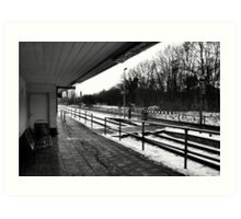 Railway station - bw Art Print