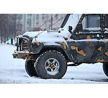 truck in the snow Photographic Print