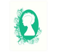 Vintage Punk Cameo Turquoise Art Print