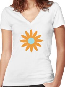 Flowers, Blossoms, Blooms, Petals - Blue Orange Women's Fitted V-Neck T-Shirt