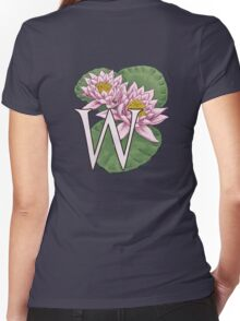 W is for Water Lily floating Women's Fitted V-Neck T-Shirt