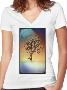 Abstract tree design Women's Fitted V-Neck T-Shirt