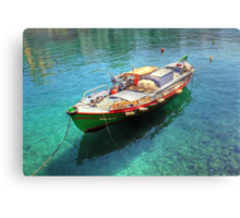 Little fishing boat from Crete  Canvas Print