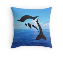 Tribal Sea Life - Dolphin Throw Pillow