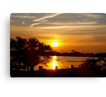 Seawall in silhouette Canvas Print