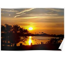Seawall in silhouette Poster