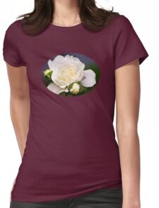 Fresh White Rose Womens Fitted T-Shirt