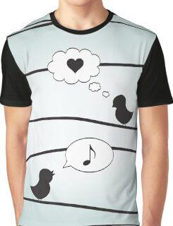 Love Birds - Blue Graphic T-Shirt