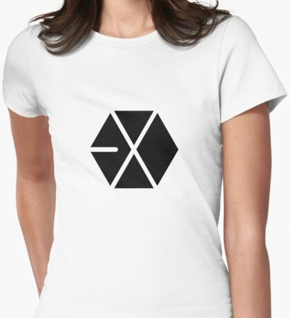 EXO Black Logo Womens Fitted T-Shirt