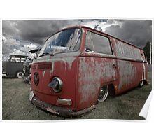 Red VW Camper Van Poster