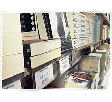 Stacked Books on the Shelf Poster