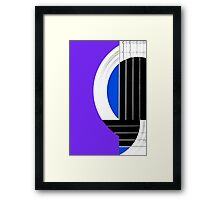 Geometric Guitar Abstract in Purple Blue Black White Framed Print