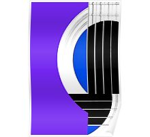 Geometric Guitar Abstract in Purple Blue Black White Poster
