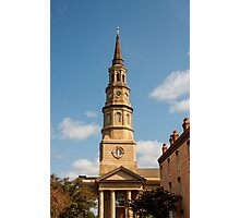Old Stone Church Tower with Clock Photographic Print