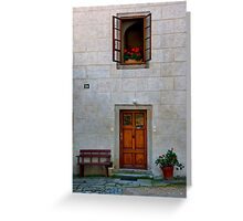 Door, Bench, And Window Greeting Card