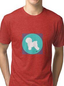 Bichon Frise Silhouette - Aqua Dot Tri-blend T-Shirt