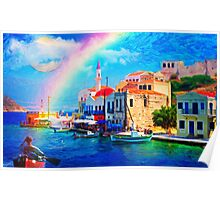landscape  greece village pier rainbow-art Poster
