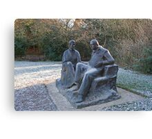 Sir Winston Churchill and his wife statue in Chartwell Canvas Print