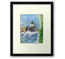 Tillamook Rock Lighthouse OR Nautical Map Cathy Peek Art Framed Print