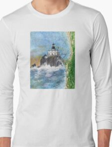 Tillamook Rock Lighthouse OR Nautical Map Cathy Peek Art Long Sleeve T-Shirt