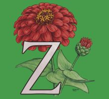 Z is for Zinnia floating One Piece - Short Sleeve