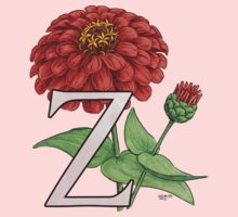 Z is for Zinnia floating One Piece - Long Sleeve