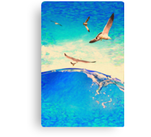 landscape waves and seagulls Canvas Print