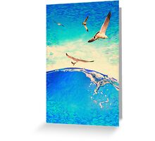 landscape waves and seagulls Greeting Card
