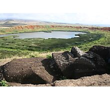 Recumbant Head, Rano Raraku Photographic Print