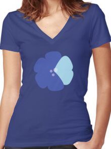 Flowers, Blossoms, Blooms, Petals - Blue Women's Fitted V-Neck T-Shirt