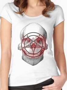 Pentagram Baphomet Skull. Women's Fitted Scoop T-Shirt