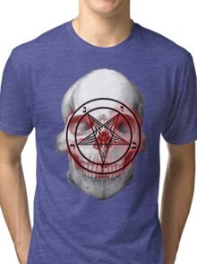 Pentagram Baphomet Skull. Tri-blend T-Shirt