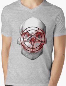 Pentagram Baphomet Skull. Mens V-Neck T-Shirt