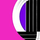 Geometric Guitar Abstract in Pink Purple Black White by Natalie Kinnear