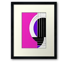 Geometric Guitar Abstract in Pink Purple Black White Framed Print