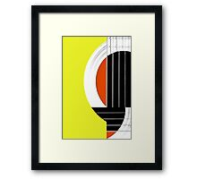 Geometric Guitar Abstract in Yellow Orange Black White Framed Print