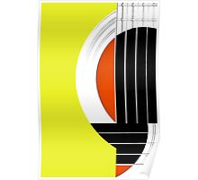 Geometric Guitar Abstract in Yellow Orange Black White Poster