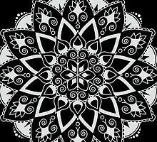 Mandala - White/Black by hartzelldesign