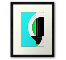 Geometric Guitar Abstract in Turquoise Green Black White Framed Print