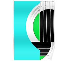 Geometric Guitar Abstract in Turquoise Green Black White Poster