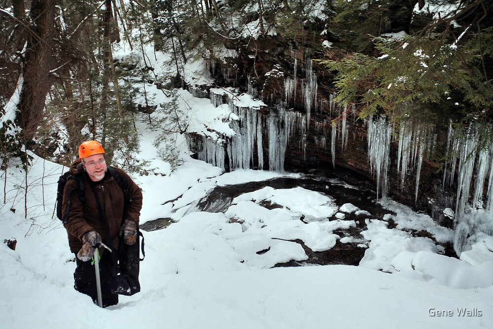 Winter Hiker At The Cliff's Edge by Gene Walls