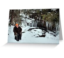 Winter Hiker At The Cliff's Edge Greeting Card