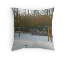 Wintertime Clothesline in the Snow Throw Pillow